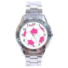 Soccer Ball Pink Stainless Steel Watch