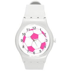 Soccer Ball Pink Plastic Sport Watch (Medium)