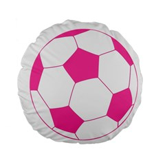 Soccer Ball Pink 15  Premium Round Cushion