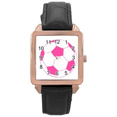 Soccer Ball Pink Rose Gold Leather Watch