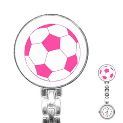Soccer Ball Pink Stainless Steel Nurses Watch