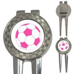 Soccer Ball Pink Golf Pitchfork & Ball Marker