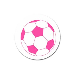 Soccer Ball Pink Magnet 3  (round)