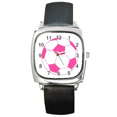 Soccer Ball Pink Square Leather Watch