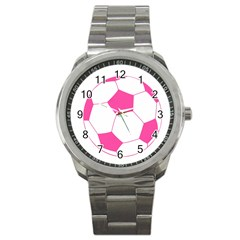 Soccer Ball Pink Sport Metal Watch