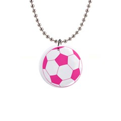 Soccer Ball Pink Button Necklace