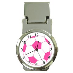 Soccer Ball Pink Money Clip With Watch
