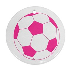 Soccer Ball Pink Round Ornament (two Sides)