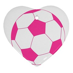 Soccer Ball Pink Heart Ornament (Two Sides)