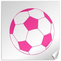 Soccer Ball Pink Canvas 16  x 16  (Unframed)