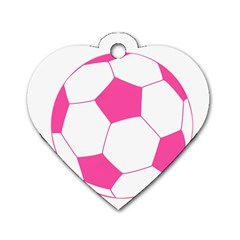 Soccer Ball Pink Dog Tag Heart (two Sided)