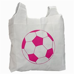 Soccer Ball Pink White Reusable Bag (two Sides)