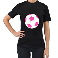 Soccer Ball Pink Women s T Shirt (black)