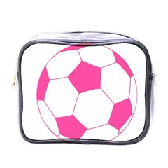 Soccer Ball Pink Mini Travel Toiletry Bag (one Side)