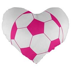 Soccer Ball Pink 19  Premium Heart Shape Cushion
