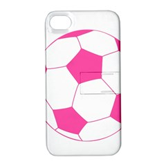 Soccer Ball Pink Apple Iphone 4/4s Hardshell Case With Stand