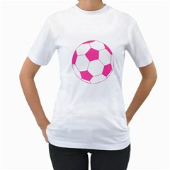 Soccer Ball Pink Women s T-Shirt (White)