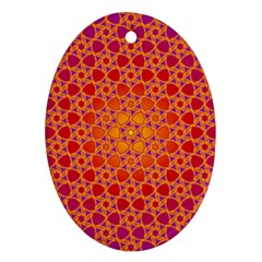 Radial Flower Oval Ornament (Two Sides)