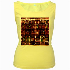 Physical Graffitied Women s Tank Top (Yellow)