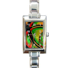 Multicolored Modern Abstract Design Rectangular Italian Charm Watch