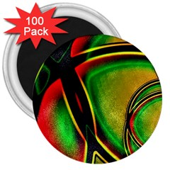 Multicolored Modern Abstract Design 3  Button Magnet (100 pack)
