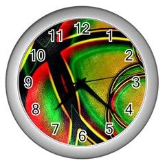 Multicolored Modern Abstract Design Wall Clock (silver)