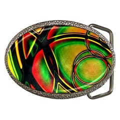 Multicolored Modern Abstract Design Belt Buckle (oval)