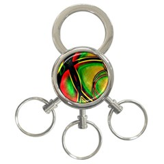 Multicolored Modern Abstract Design 3-Ring Key Chain
