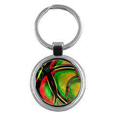 Multicolored Modern Abstract Design Key Chain (Round)