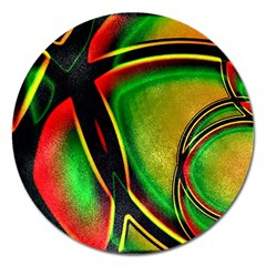 Multicolored Modern Abstract Design Magnet 5  (Round)