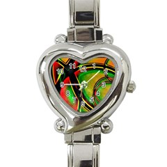 Multicolored Modern Abstract Design Heart Italian Charm Watch