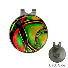 Multicolored Modern Abstract Design Hat Clip With Golf Ball Marker