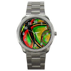 Multicolored Modern Abstract Design Sport Metal Watch