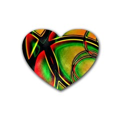 Multicolored Modern Abstract Design Drink Coasters (heart)