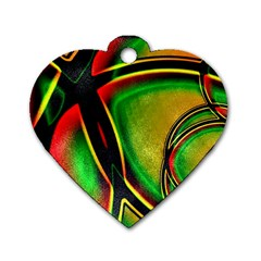 Multicolored Modern Abstract Design Dog Tag Heart (two Sided)