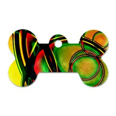 Multicolored Modern Abstract Design Dog Tag Bone (One Sided)