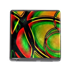Multicolored Modern Abstract Design Memory Card Reader With Storage (square)