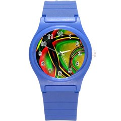 Multicolored Modern Abstract Design Plastic Sport Watch (Small)