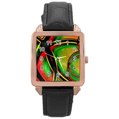 Multicolored Modern Abstract Design Rose Gold Leather Watch
