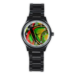 Multicolored Modern Abstract Design Sport Metal Watch (Black)