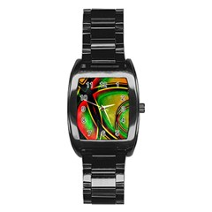 Multicolored Modern Abstract Design Stainless Steel Barrel Watch
