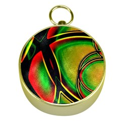 Multicolored Modern Abstract Design Gold Compass