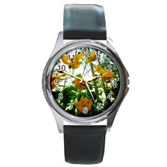Yellow Flowers Round Leather Watch (Silver Rim)