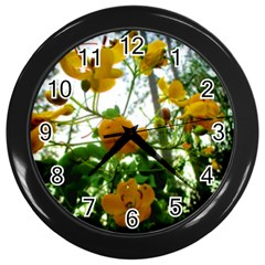Yellow Flowers Wall Clock (Black)