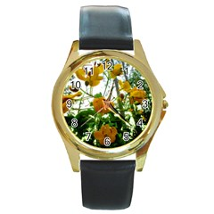 Yellow Flowers Round Leather Watch (Gold Rim)