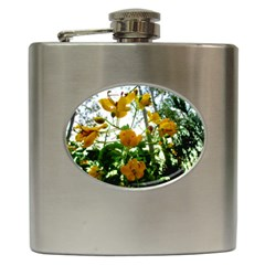 Yellow Flowers Hip Flask