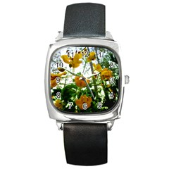 Yellow Flowers Square Leather Watch