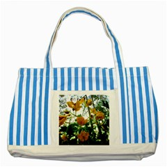 Yellow Flowers Blue Striped Tote Bag