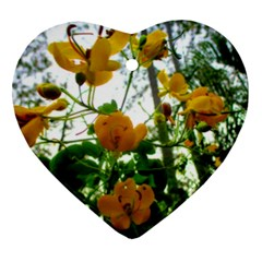 Yellow Flowers Heart Ornament (Two Sides)