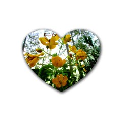 Yellow Flowers Drink Coasters 4 Pack (Heart)